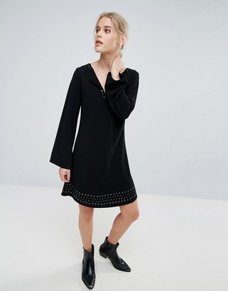 Pepe Jeans Janet Flared Long Sleeve Dress-Black