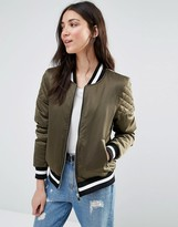 Brave Soul Retro Bomber With Quilted Sleeves And Contrast Hem