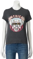 """About A Girl Juniors' About A Girl """"American Live Free"""" Graphic Tee"""