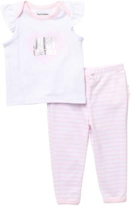 Juicy Couture Logo Heart Ruffled Top & Leggings Set