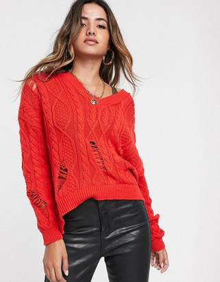 Stradivarius v neck cable knit jumper in red