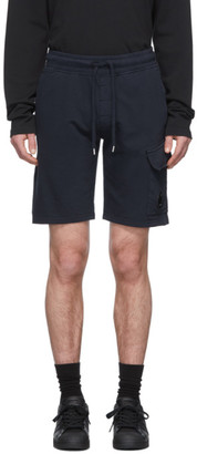 C.P. Company Navy Light Fleece Bermuda Cargo Shorts