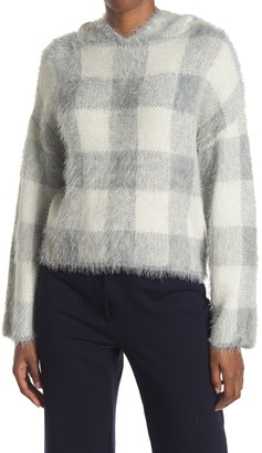 Cliche Plaid Hooded Eyelash Sweater
