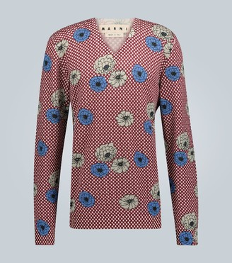Marni V-neck floral printed sweater