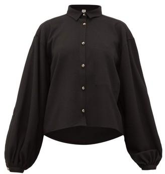 Totême Novale Logo-buttoned Boucle-twill Shirt - Womens - Black