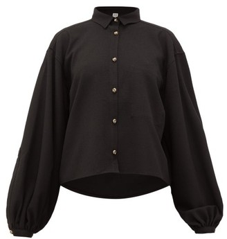 Totême Novale Logo-buttoned Boucle-twill Shirt - Womens - Black