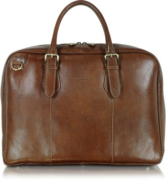 Chiarugi Brown Double Handle Leather Briefcase