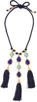 Ben-Amun Braided cord, stone and gold-tone necklace