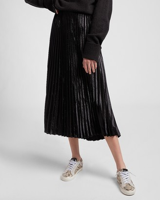 Express High Waisted Pleated Satin Midi Skirt