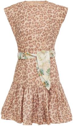 Zimmermann Kirra Flounce Belted Leopard-print Linen Mini Dress
