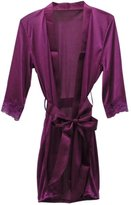 Amour- Women Lady's Sexy Satin Lingerie Sleepwear Robes Nightwear (Purple)