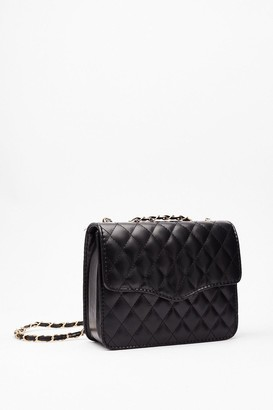 Nasty Gal Womens WANT Quilt Playin' Games Woven Crossbody Bag - Black - One Size