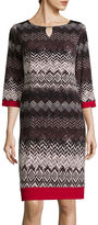 Ronni Nicole RN Studio by 3/4-Sleeve Chevron Bar-Neck Shift Dress