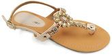 Beige Embellished T-Strap Sandal