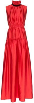 Roksanda High Neck Gathered Silk Gown