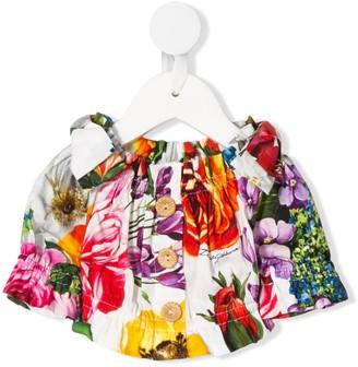 Dolce & Gabbana Kids Floral Print Off-The-Shoulder Top