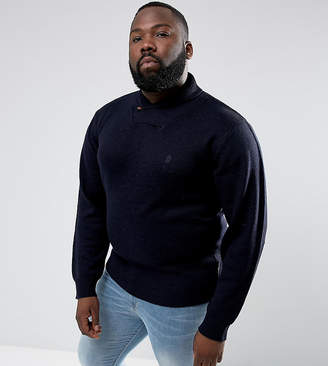 French Connection PLUS Shawl Collar Jumper-Navy