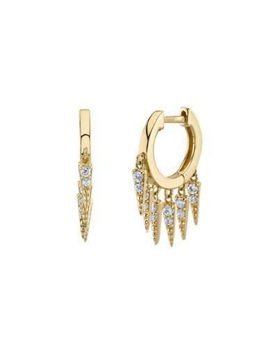 Sydney Evan Large Pave Diamond Fringe Hoop Earrings