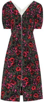 Marni Floral cotton-blend twill midi dress