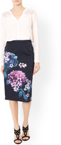 Monsoon Peony Placement Print Skirt