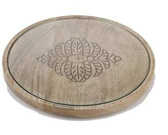 Mind Reader Round Cheese Platter, Serving Tray, Decorative Display Tray, Serving Tray with Glass Top, Flat Butler Tray, Brown
