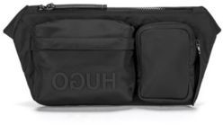 HUGO Reverse-logo multi-pocket belt bag in nylon gabardine