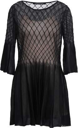 Valenti Antonino Pleated Paneled Silk-blend Mini Dress