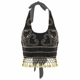 YOOJIA Women's Glitter Sequins Belly Dance Beaded Bra Crop Top Fringe Tassel Blouse Clubwear Black One Size