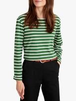 Seasalt Sailor Stripe Long Sleeve Top, Hedgerow Chalk
