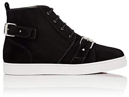 Christian Louboutin Men's Nono Strap Suede Sneakers