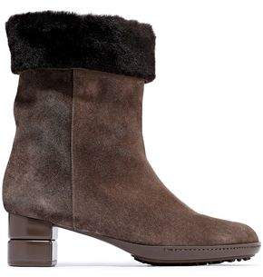 Salvatore Ferragamo My Cold Shearling-lined Suede Ankle Boots