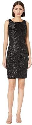 Calvin Klein Sequin Sheath Dress (Black) Women's Dress