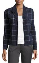 Armani Collezioni Chenille Windowpane Sweater Jacket, Blue