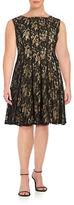 Gabby Skye Plus Lace-Overlay A-Line Dress