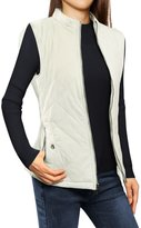Allegra K Woman Zip Up Front Stand Collar Quilted Padded Vest L