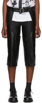 Comme des Garcons Black Faux-Leather Cut-Out Trousers