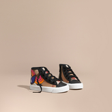 Burberry Leather Trim Rainbow Graphic Check High-top Trainers