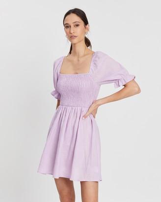 Shirred Linen Mini Dress