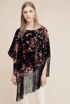Anthropologie Wild Rose Velvet Poncho