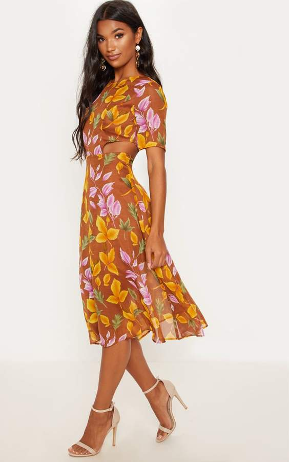 PrettyLittleThing Rust Floral Cap Sleeve Cut Out Midi Dress