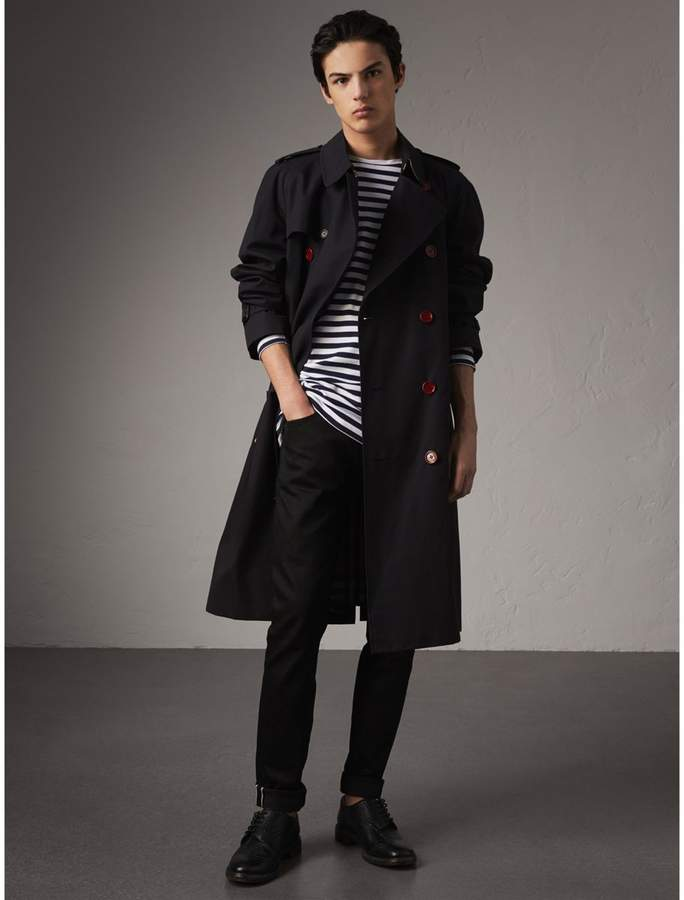 Burberry Extra-long Resin Button Cotton Gabardine Trench Coat