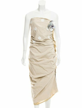 Lanvin Embellished Strapless Dress w/ Tags Tan