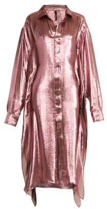 Paula Knorr - Big Long-sleeved Silk-blend Lame Shirt - Womens - Pink