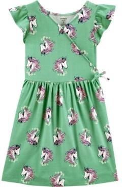 Carter's Little Girls Unicorn Faux Wrap Dress