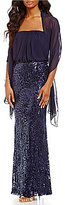 Vince Camuto Strapless Blouson Bodice Sequin Bottom Gown