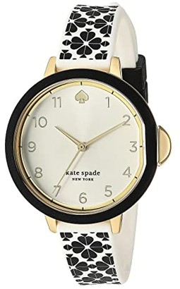 Kate Spade Park Row Flower Silicone Watch - KSW1569 (Black) Watches