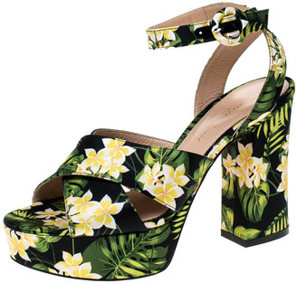 Gianvito Rossi Multicolor Printed Floral Satin Cross Strap Platform Sandals Size 36