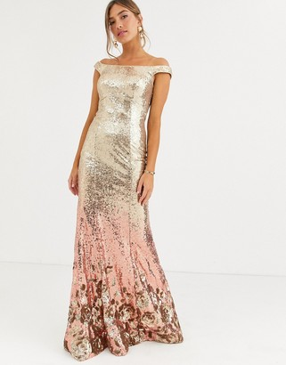 Jovani sequin bardot maxi dress-Gold