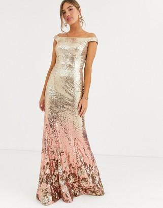 Jovani sequin bardot maxi dress