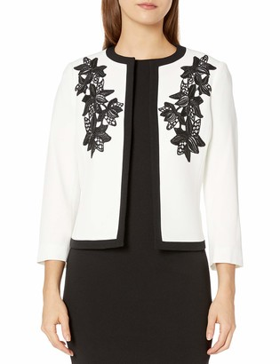 Kasper Women's Petite Jewel Neck Fly Away Jacket with Embroidered Detail